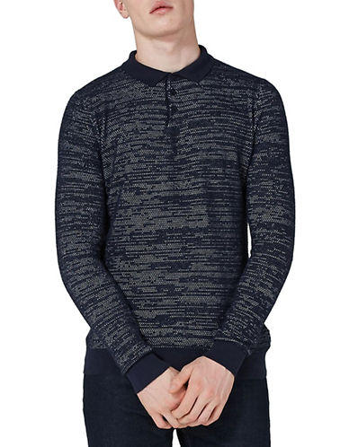 Topman Classic Fit Textured Knitted Polo-NAVY BLUE-Small