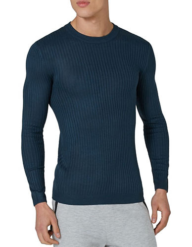 Topman Muscle Fit Ribbed Sweater-BLUE-Large