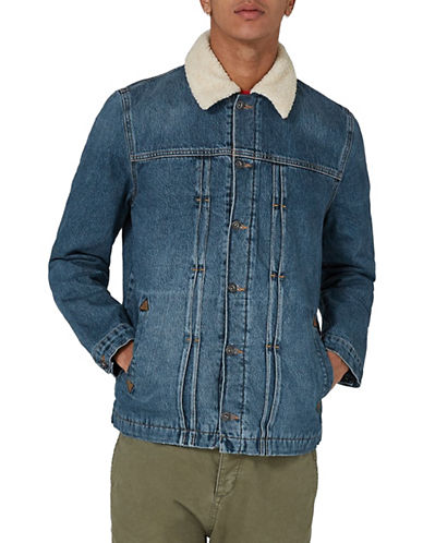 Topman Shire Borg Lined Denim Jacket-DARK BLUE-Small