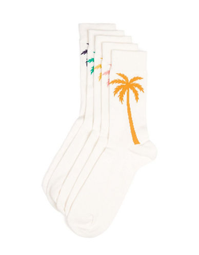 Topman Five-Pack Palm Tree Socks-WHITE-One Size