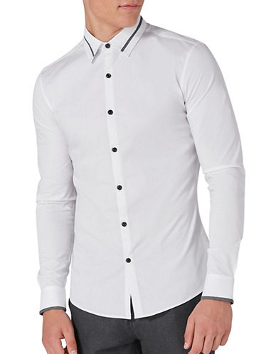 Topman Contrast Muscle Fit Sport Shirt-WHITE-Large