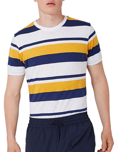 Topman Patrick Stripe Classic Fit T-Shirt-YELLOW-X-Small