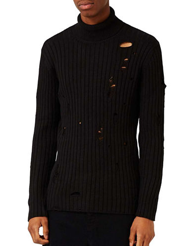 Topman Ripped Turtleneck Sweater-BLACK-X-Large 88919743_BLACK_X-Large