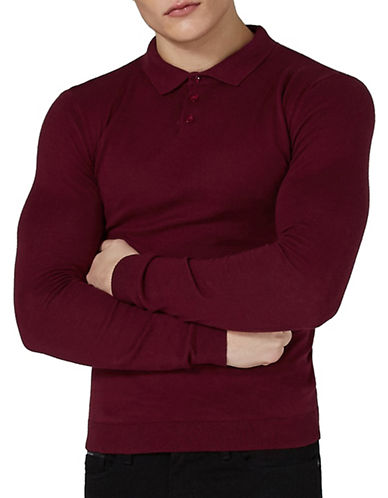 Topman Muscle Fit Polo-BURGUNDY-Medium