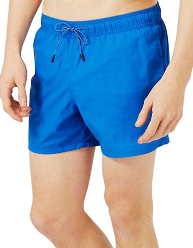 Topman Washed Swim Shorts-BLUE-Small/Medium 89155283_BLUE_Small/Medium