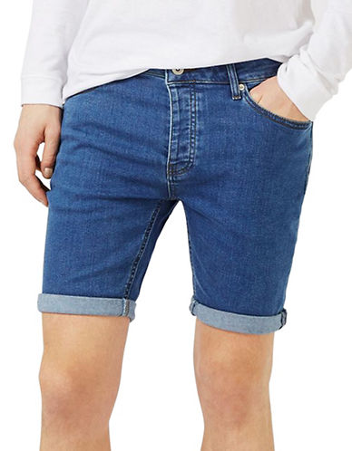 Topman Stretch Skinny Denim Shorts-BLUE-34