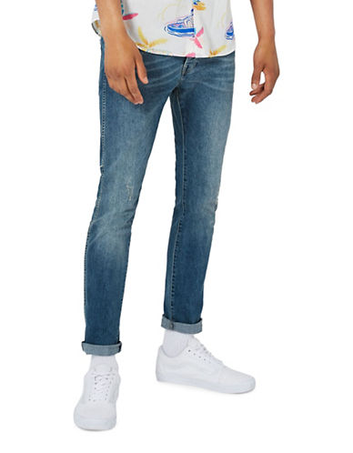 Topman Stretch Skinny Jeans-BLUE-34 Long