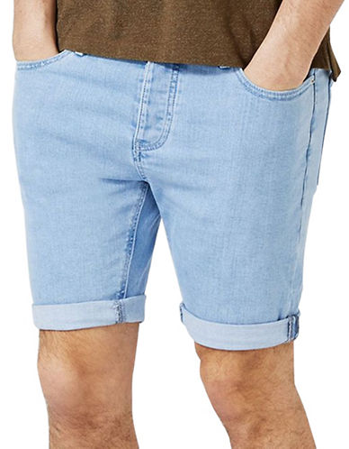 Topman Marty Bleached Stretch Skinny Denim Shorts-LIGHT BLUE-32