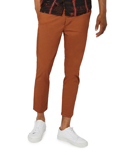 Topman Cropped Stretch Skinny Chinos-BROWN-32 Long