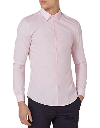 Topman Muscle Fit Dress Shirt-PINK-X-Large