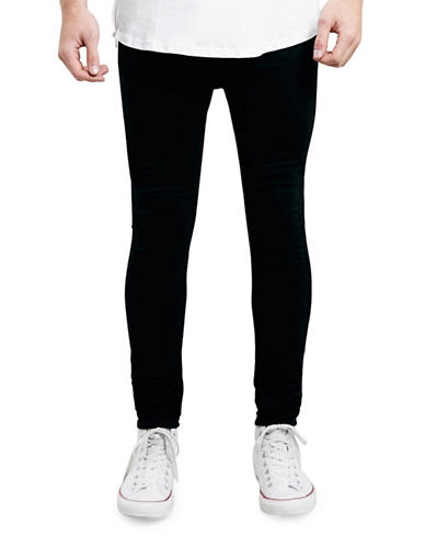Topman Spray-On Skinny Jeans-BLACK-34 Short