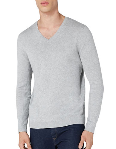 Topman Grey Marl V-Neck Sweatshirt-LIGHT GREY-Small