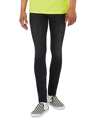 Topman Washed Super Spray-On Skinny Jeans-BLACK-32 Long