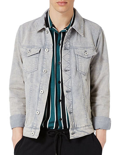 Topman Acid Wash Denim Jacket-GREY-Large