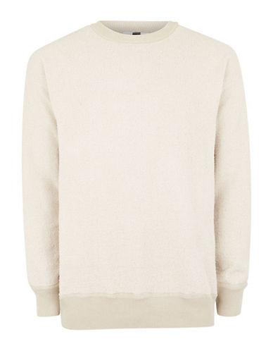 Topman Ecru Fleece Sweater-LIGHT BROWN-Large