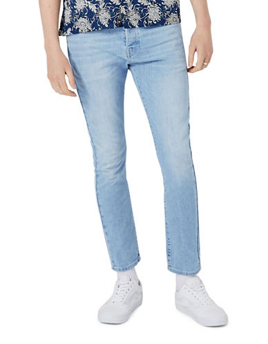 Topman Washed Stretch Tapered Fit Jeans-BLUE-32