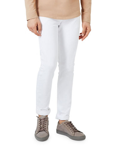 Topman Stretch Skinny Jeans-WHITE-28 Short