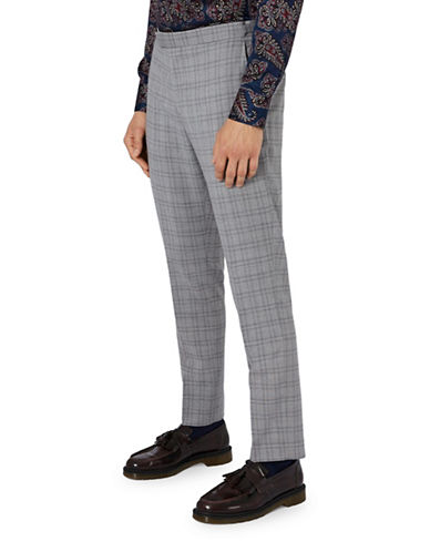 Topman CHARLIE CASELY-HAYFORD Wool Check Skinny Wedding Suit Trousers-LIGHT GREY-30