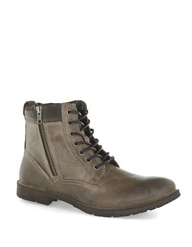 Topman Rogue Leather Zip Chukka Boots-GREY-40