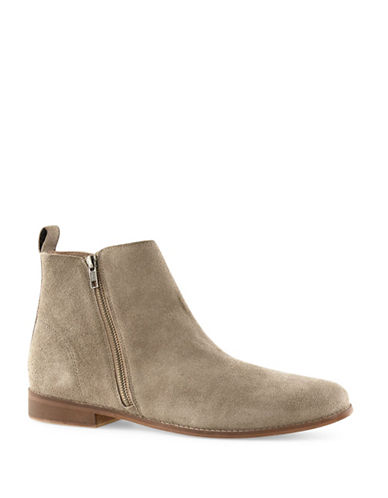 Topman Aspen Suede Zip Boots-GREY-45