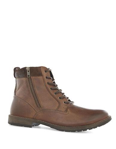 Topman Rogue Leather Zip Chukka Boots-BROWN-42