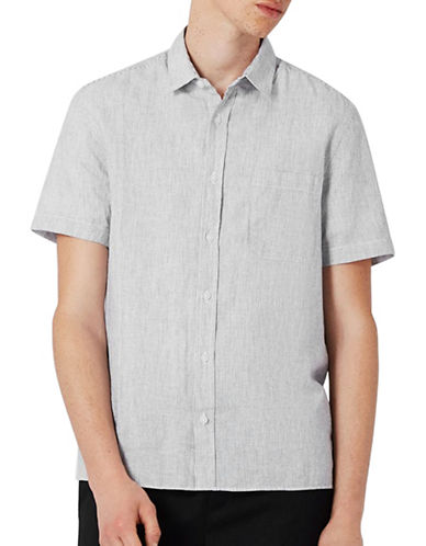 Topman Striped Linen-Blend Sport Shirt-GREY-Medium