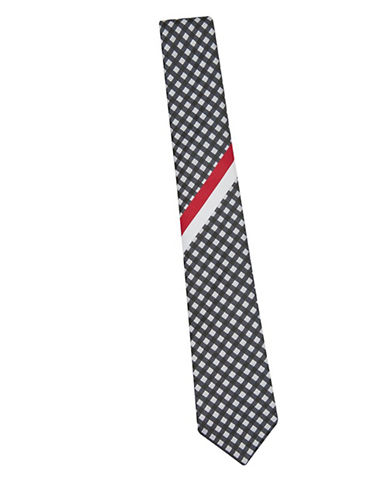 Topman Placement Gingham Tie-BLACK-One Size