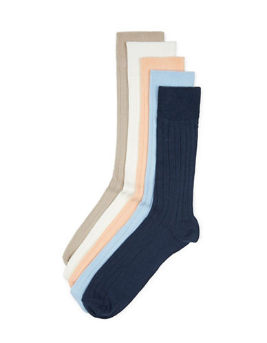 Topman Mens Five-Pack Assorted Colours Ribbed Socks-ASSORTED-One Size