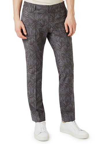Topman Fern Print Skinny Fit Dress Pants-GREY-34