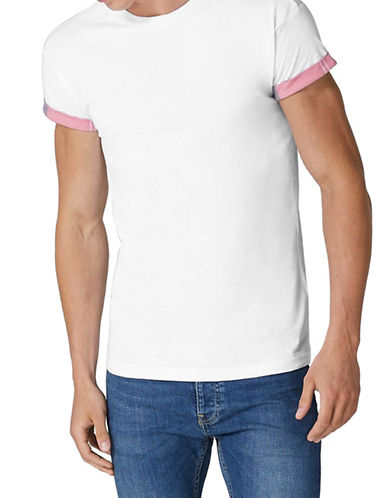 Topman Muscle Fit Check Contrast T-Shirt-WHITE-X-Small