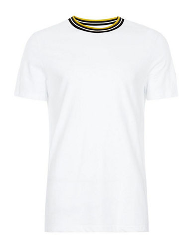 Topman Tipped Smart T-Shirt-WHITE-Large