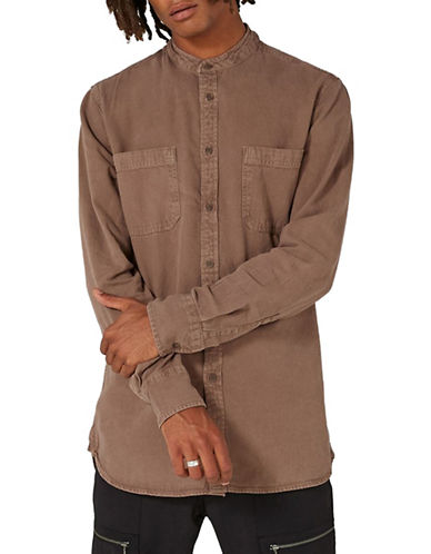 Topman Washed Band Collar Sport Shirt-BROWN-X-Small