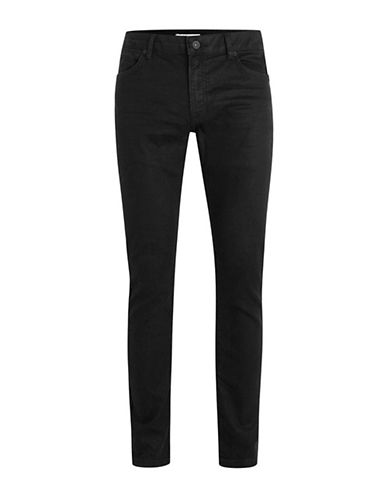 Topman Oil Coated Stretch Slim Fit Jeans-BLACK-32 Short