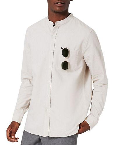 Topman Stand Collar Oxford Shirt-STONE-Small
