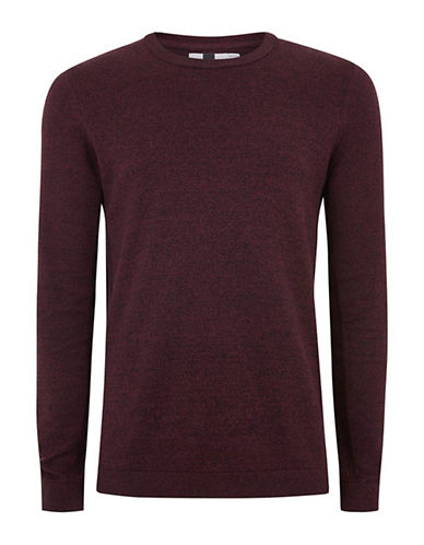 Topman Twist Ribbed Sweater-RED-Medium