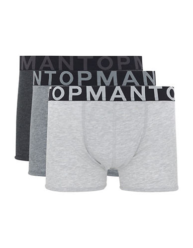 Topman Three-Pack Solid Trunks-GREY-Small/Medium