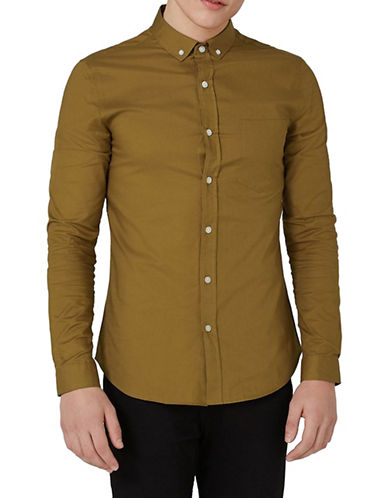 Topman Muscle Fit Oxford Shirt-BROWN-X-Large