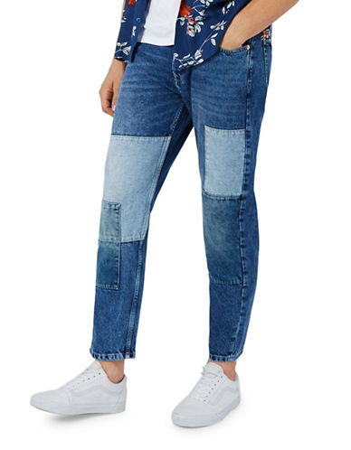 Topman Patchwork Original Fit Jeans-BLUE-30