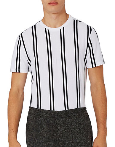 Topman Vertical Stripe T-Shirt-WHITE-Large