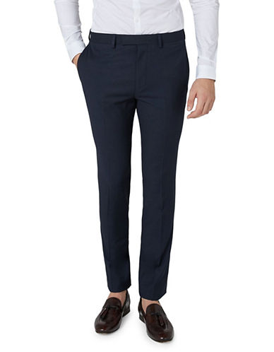 Topman Textured Muscle Suit Trousers-DARK BLUE-30