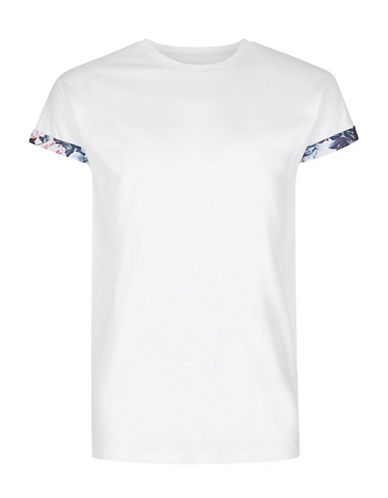Topman Floral Muscle Fit T-Shirt-WHITE-Large