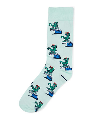 Topman Surfin Dinosaur Socks-GREEN-One Size