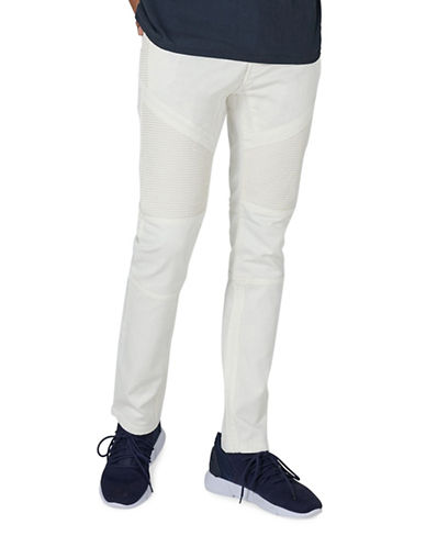 Topman Biker Stretch Skinny Jeans-CREAM-32 Short