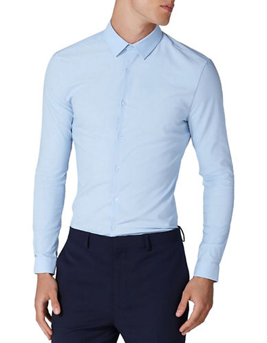 Topman Muscle Fit Textured Sport Shirt-LIGHT BLUE-Medium