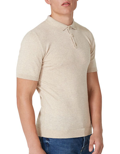Topman Muscle Fit Knitted Polo-GREY-Small