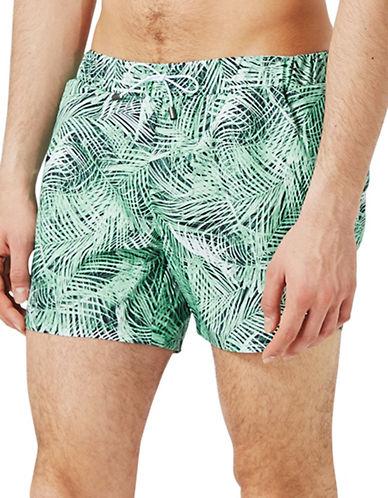 Topman Jungle Palm Print Swim Shorts-GREEN-Large/X-Large