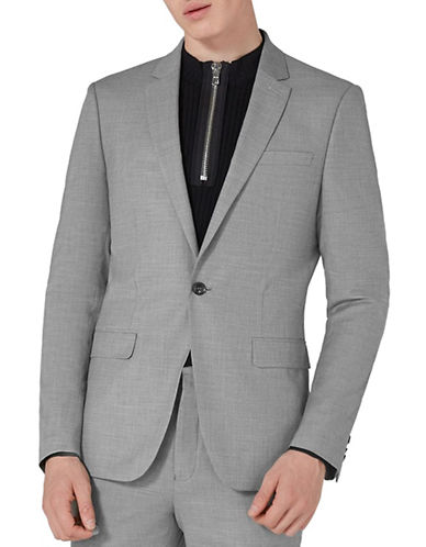Topman Chambray Print Suit Jacket-GREY-44