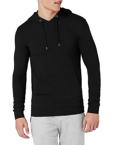 Topman Muscle Fit Textured Hoodie-BLACK-Medium