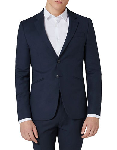 Topman Textured Muscle Fit Suit Jacket-DARK BLUE-38