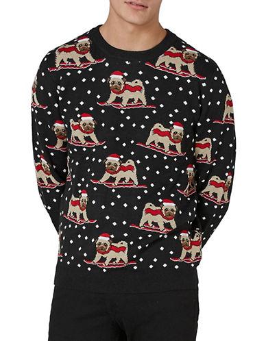 Topman Slim Fit Skiing Pug Sweater-GREY-X-Large